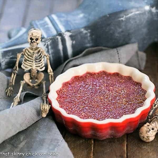 Bloody Crème Brûlée in a red ramekin