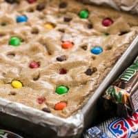 Candy Bar Blondies in a baking pan