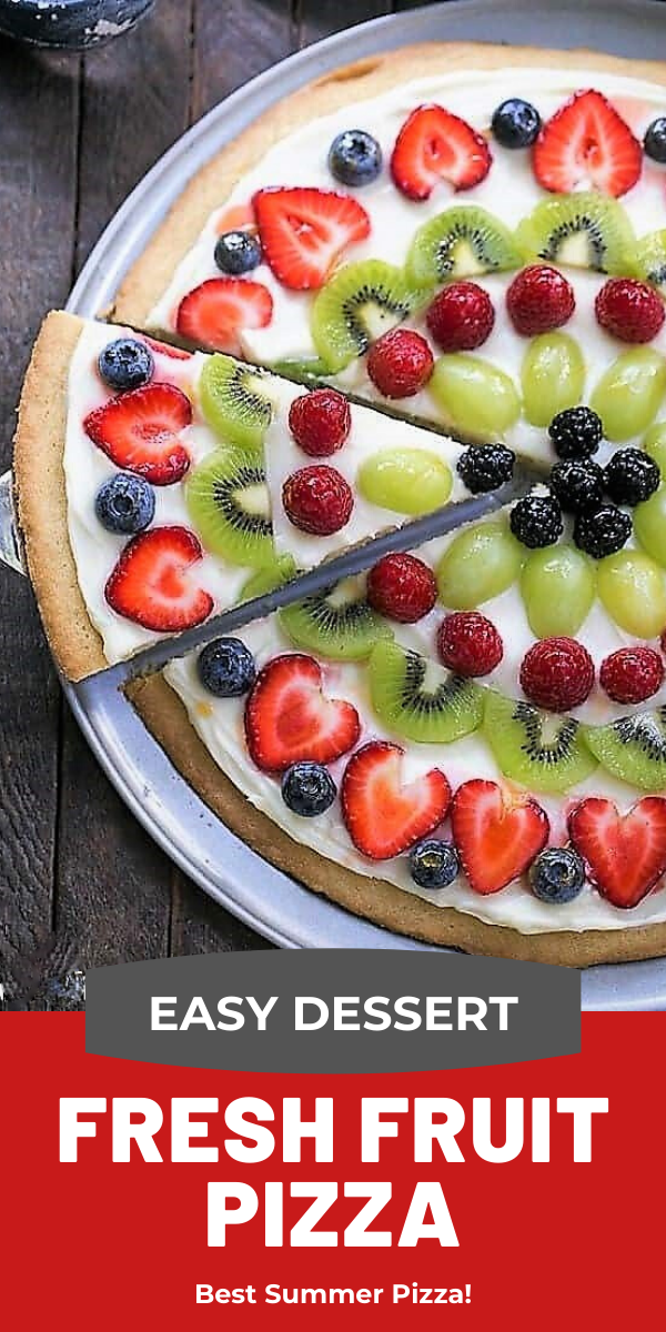 Fresh Fruit Pizza photo and text collage