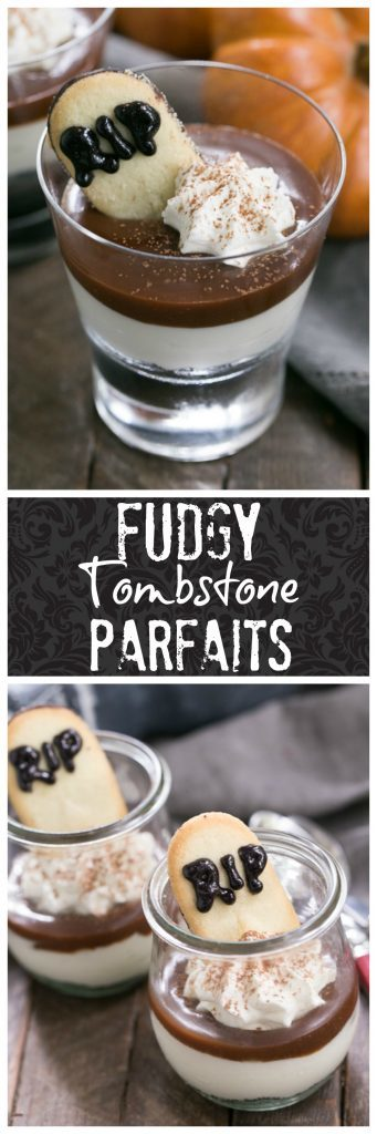 Fudgy Tombstone Parfaits | Luscious layers of Oreo crumbs, cheesecake filling and fudge sauce make with a tombstone cookie make for a terrific Halloween dessert!