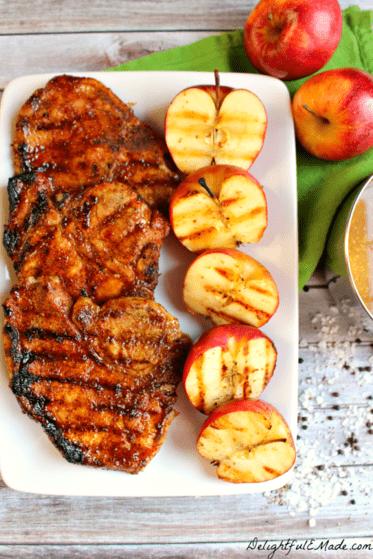 Apple Cider Glazed Pork Chops with Grilled Apples