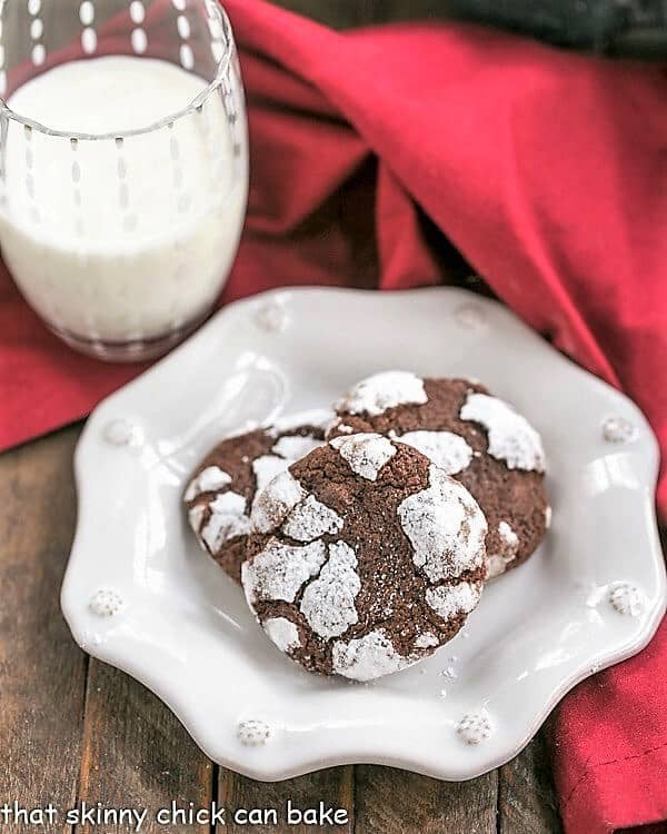 Chocolate Crackle Cookies on decorative white plate