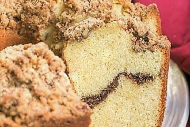 Streusel Coffee Pound Cake on a round white serving plate
