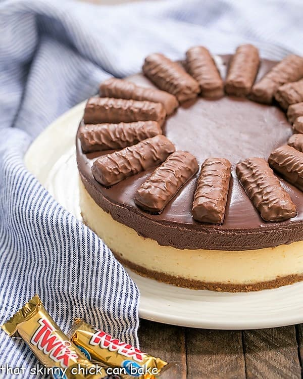 Twix Cheesecake on serving plate