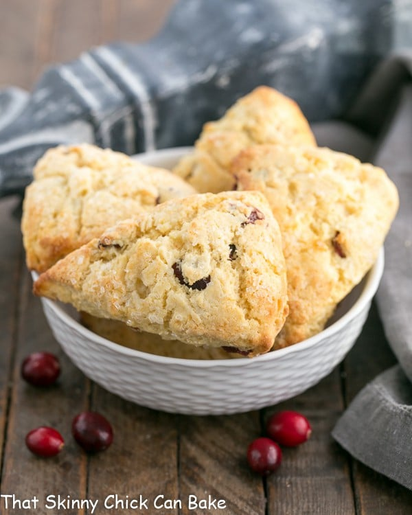 Cranberry Eggnog Scones in a white ceramic bowl