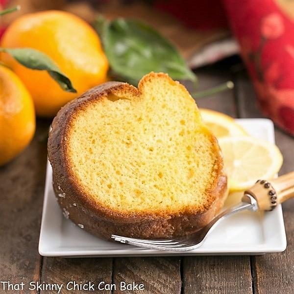 Easy Lemon Bundt Cake on a square ceramic dessert plate