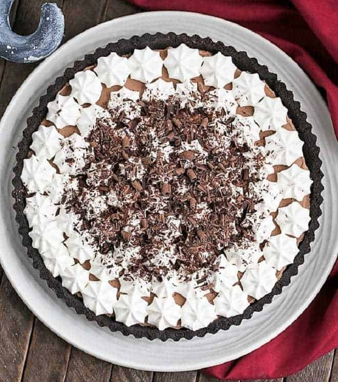 French Silk Tart on a white serving plate