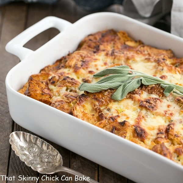 Sausage Croissant French Toast Casserole in a white baking dish