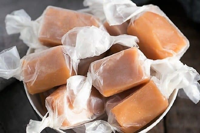 Soft Chewy Cream Caramels in a white candy bowl