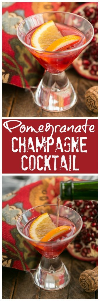 Pomegranate Champagne Cocktail collage for pinterest