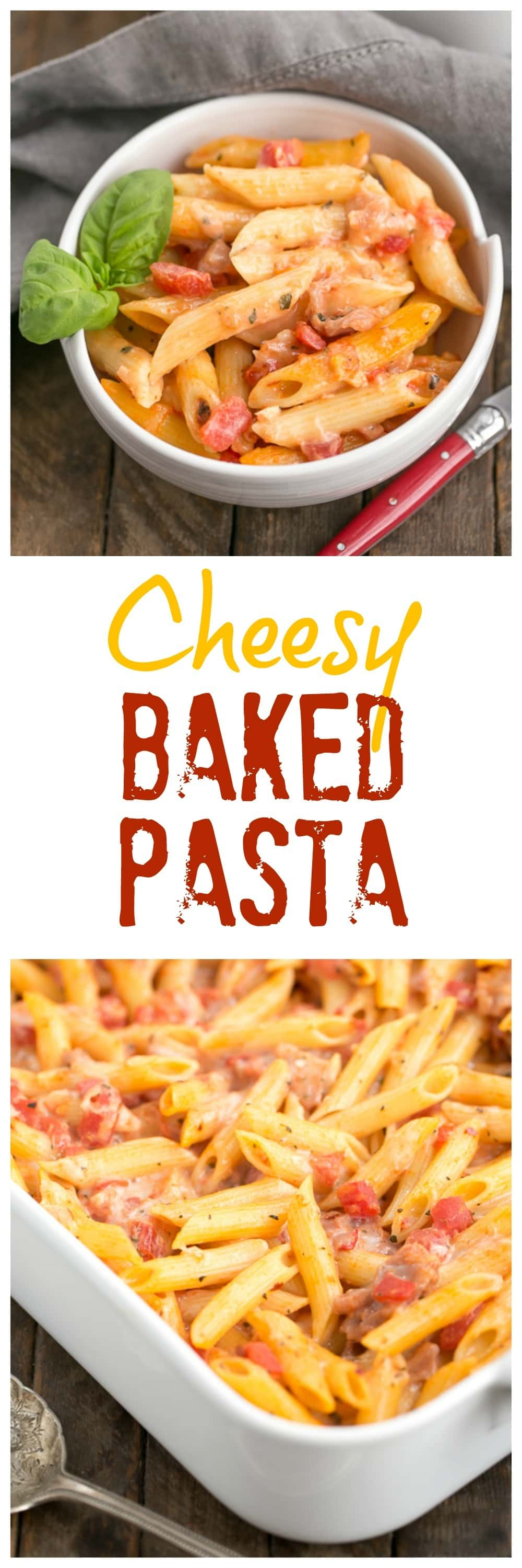 Cheesy Baked Pasta | Creamy pasta with 3 cheeses, basil and prosciutto
