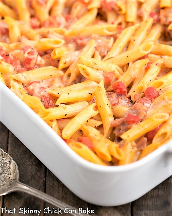 Cheesy Baked Pasta in a large white casserole dish