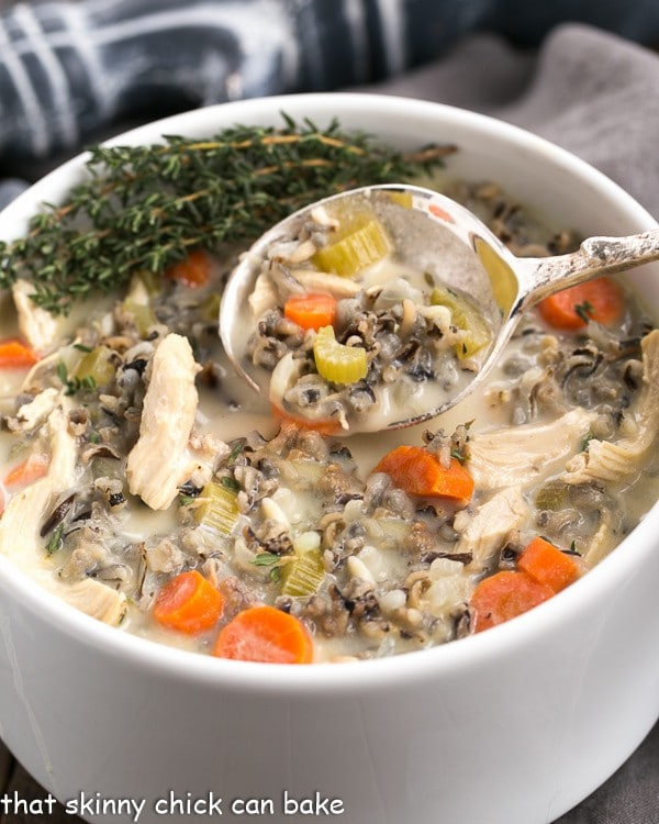 soup bowl full of chicken and wild rice soup