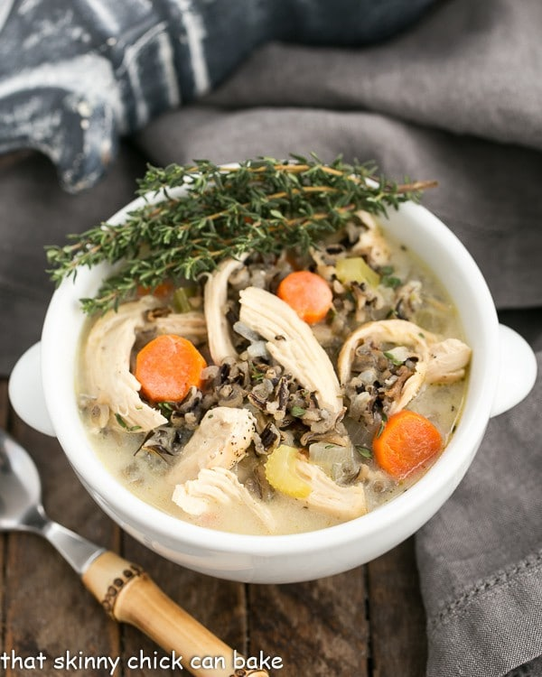 Chicken and Wild Rice Soup in a bowl