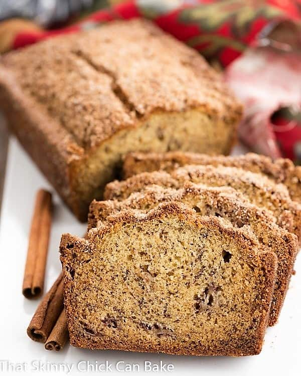 Loaf of Cinnamon Topped Banana Bread, sliced