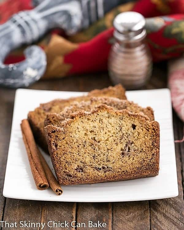 Slices of Cinnamon Topped Banana Bread on a plate