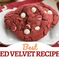 Best Red Velvet Recipes collage with a photo and text box