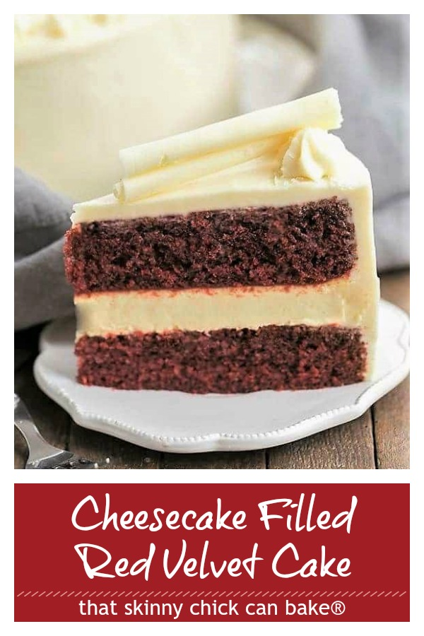 Cheesecake Filled Red Velvet Cake Pinterest image
