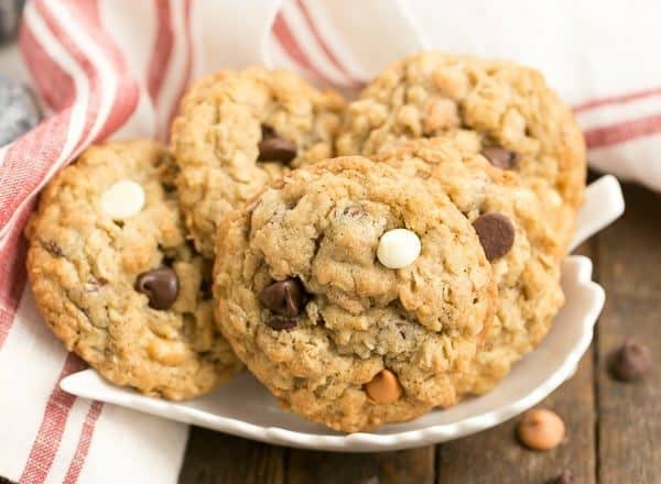 Triple Threat Oatmeal Cookies   Chewy, buttery and full of 3 varieties of baking chips