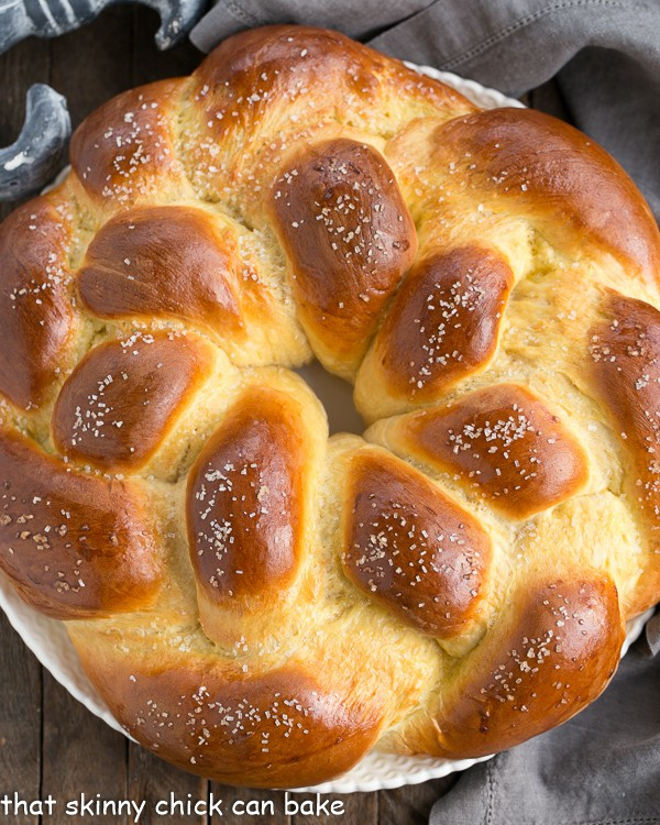 round loaf of braided Easter bread