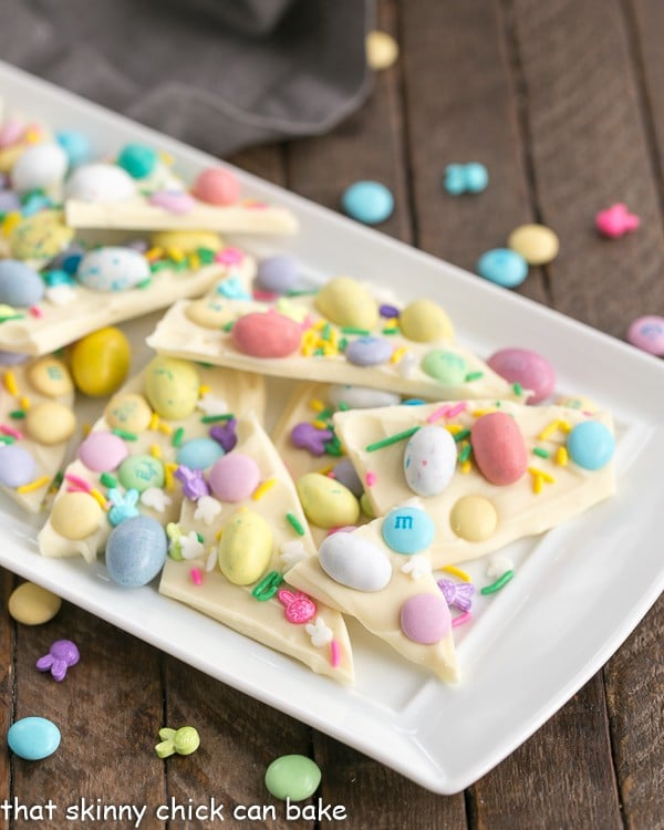Easy White Chocolate Easter Bark on a white ceramic platter