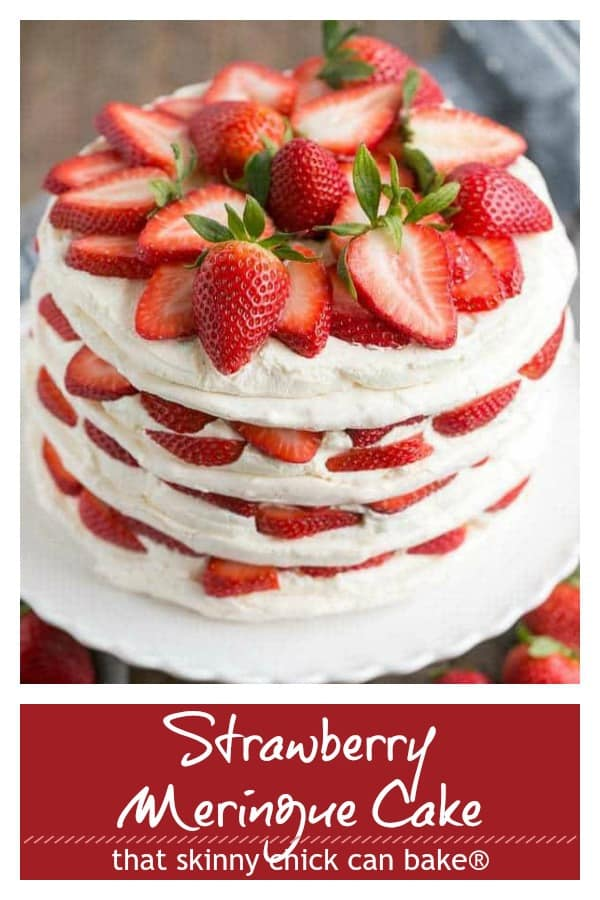 Strawberry Meringue Cake pinterest collage