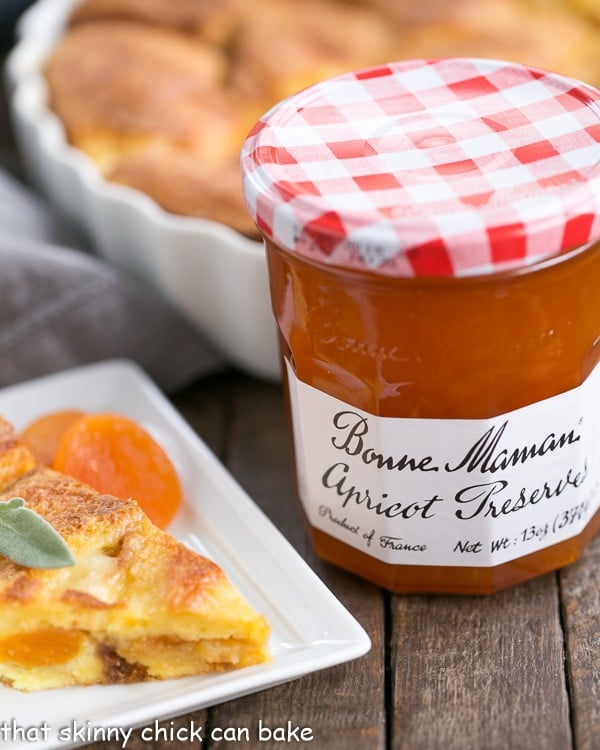 Apricot Prosciutto Strata with a jar of apricot preserves