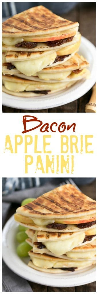 Bacon Apple & Brie Panini | A gooey, kicked up grilled cheese