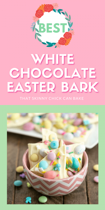 White chocolate easter bark collage with a photo above a text box