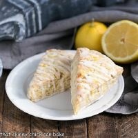2 Glazed Lemon Tea Scones on a round white plate