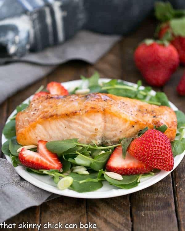 Salmon Watercress Salad with Strawberry Vinaigrette
