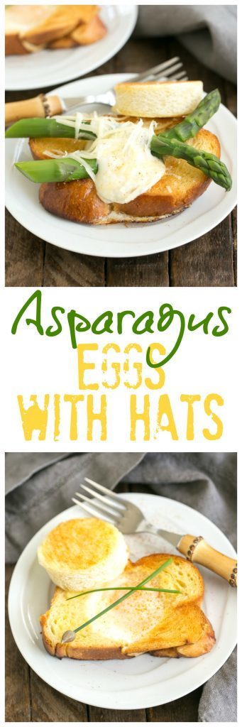 Asparagus eggs with hats collage with 2 photos and text box
