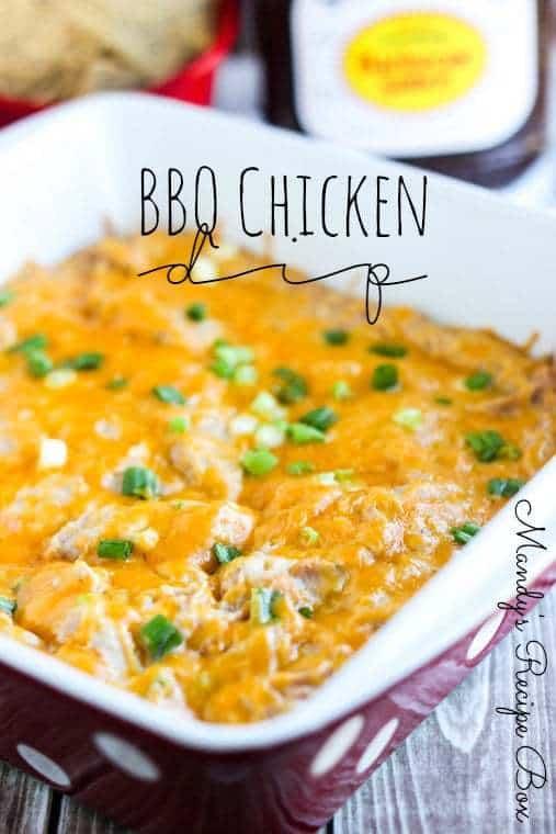Easy BBQ Chicken Dip in a square casserole dish