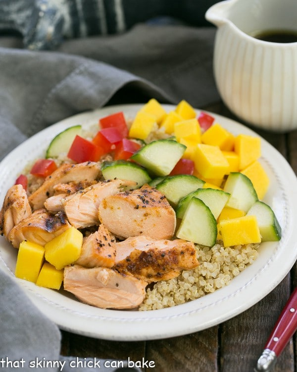 Caribbean Salmon Quinoa Salad on a white plate