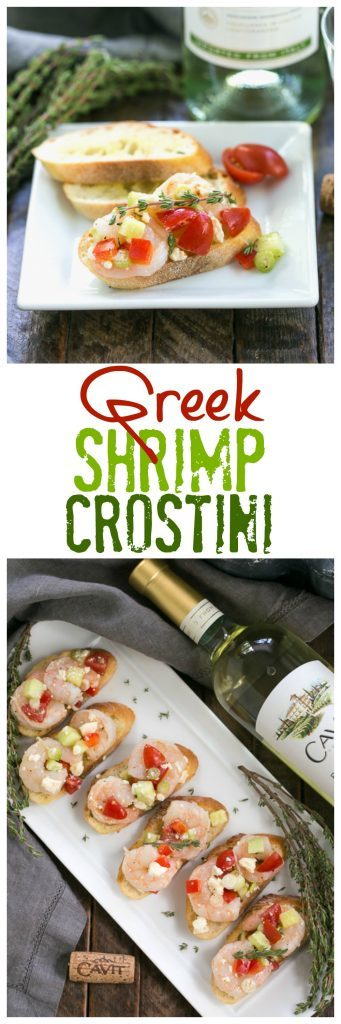 Greek Shrimp Crostini photo and text collage for Pinterest