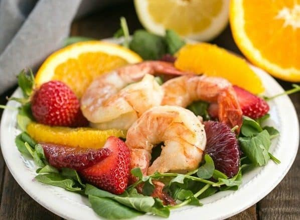 Shrimp & Orange Salad with Citrus Vinaigrette | Crisp greens, juicy orange segments, strawberries and lemon kissed shrimp with a citrus vinaigrette