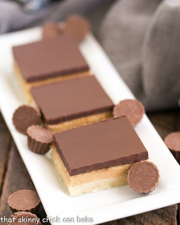 Tagalong Cookie Bars on a white tray