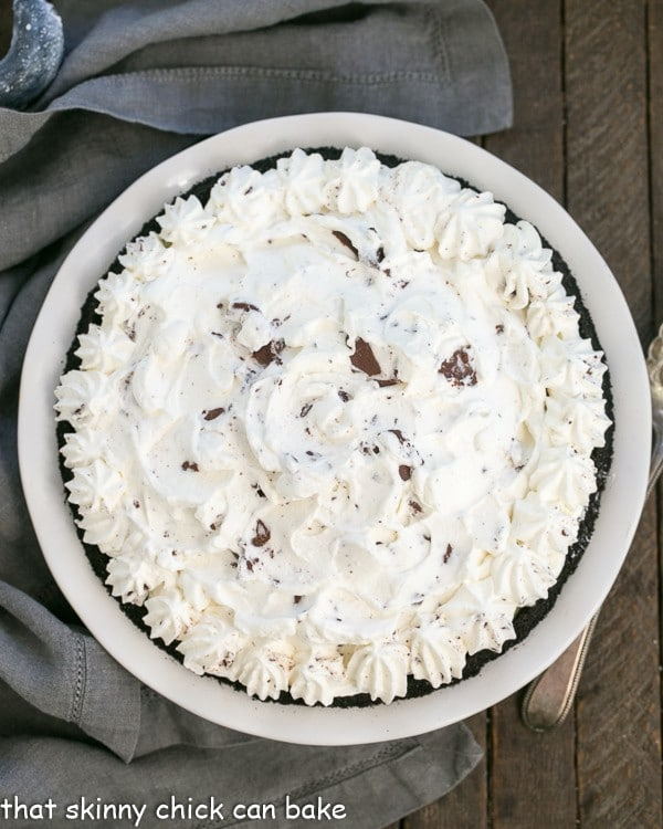 Overhead view of a Triple Chocolate Layer Pie Recipe