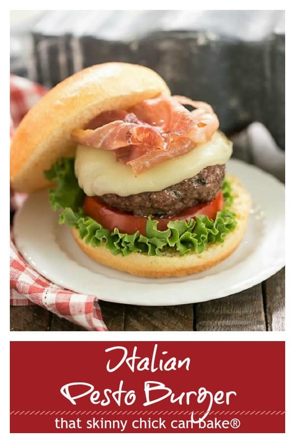 Italian Pesto Burger photo and text pinterest collage
