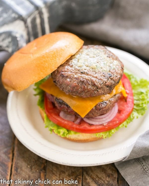Grilled Butter Burgers | With 2 hamburger patties topped with compound butter, buttered buns and all the fixings!