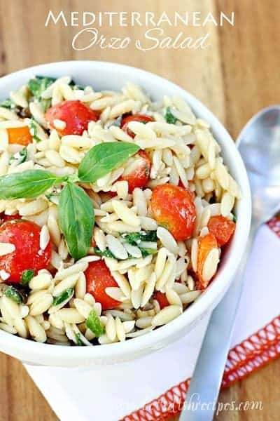 Mediterranean Orzo Salad in a white bowl