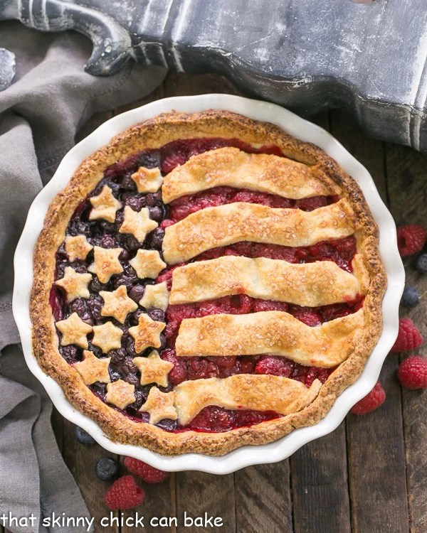Overhead view of Patriotic Stars and Stripes Berry Pie