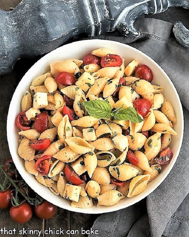 Overhead view of Tomato Basil Pasta Salad