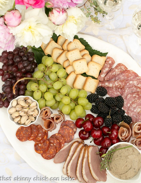 Overhead view of a charcuterie platter