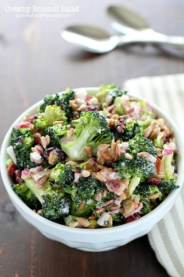 Creamy Broccoli Salad in a white bowl