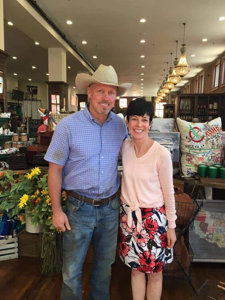 Liz and the Pioneer woman\'s husband at their retail shop in Oklahoma