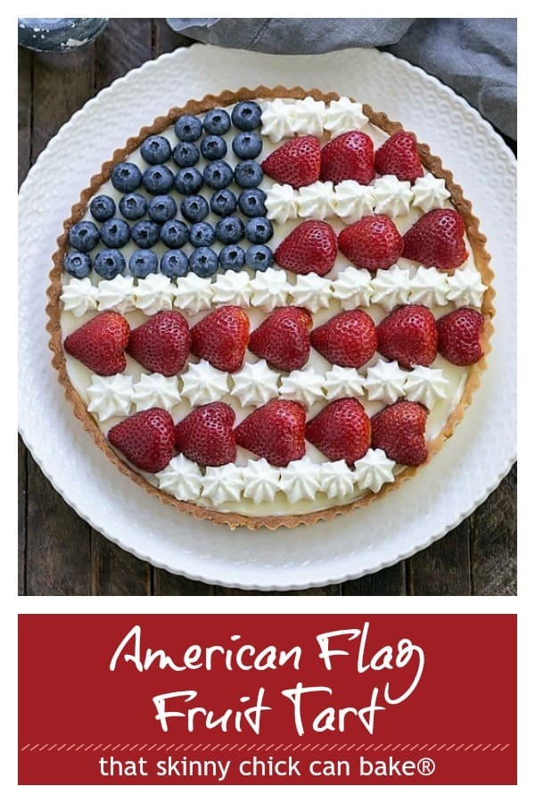 American Flag Fruit Tart Pinterest text and photo collage