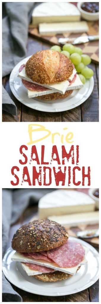 Brie Jam and Salami Sandwich photos and text collage