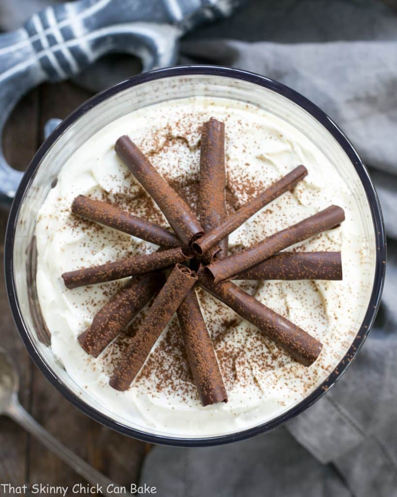Overhead view of Fudgy Brownie Trifle with Chocolate Mousse and topped with chocolate curls