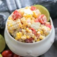 Spicy Mexican Corn Salad in a white bowl
